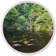 Koi Fish In Waterfall Pond At Japanese Garden Round Beach Towel
