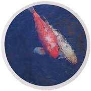 Koi Fish Partners Round Beach Towel