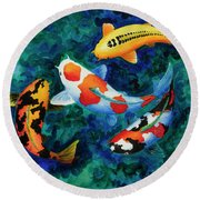 Koi Group Round Beach Towel
