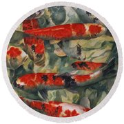 Koi Karp Round Beach Towel by Gareth Lloyd Ball