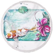 Koi Of The Tropics Round Beach Towel