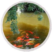 Koi Party Round Beach Towel