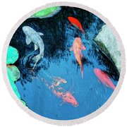 Koi Pond 1 Round Beach Towel