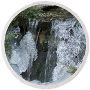 Koi Pond Waterfall Round Beach Towel