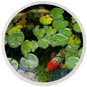 Koi With Lily Pads D Round Beach Towel