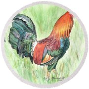 Kokee Rooster Round Beach Towel