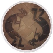 kokopelli Hand cut Tiles Round Beach Towel