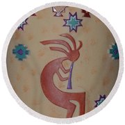 Kokopelli Round Beach Towel