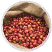 Kona Coffee Bean Harvest Round Beach Towel
