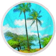 Kona Palms Round Beach Towel