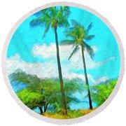 Kona Palms Round Beach Towel