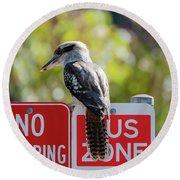 Kookaburra On A Road Sign Round Beach Towel