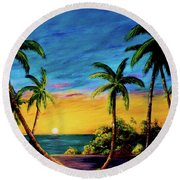 Ko'olina Sunset On The West Side Of Oahu Hawaii #299 Round Beach Towel
