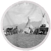 Kootenai First Nations Camp, C.1920-30s Round Beach Towel