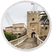 Korcula Old Town Stairs Round Beach Towel