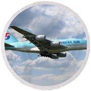 Korean Air Airbus A380 Round Beach Towel