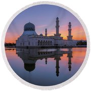 Kota Kinabalu City Mosque I Round Beach Towel