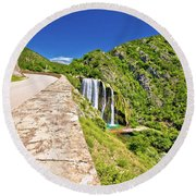 Krcic Waterfall In Knin Scenic View Round Beach Towel
