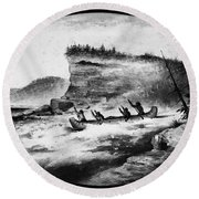 Krieghoff: Canoe On Rapids Round Beach Towel