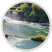 Krka National Park Waterfalls 6 Round Beach Towel