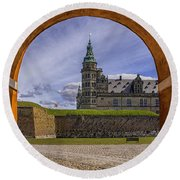 Kronborg Castle Through The Archway Round Beach Towel