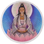 Kuan Yin Round Beach Towel by Sue Halstenberg