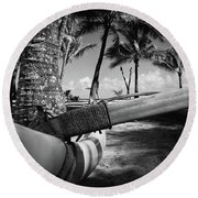 Kuau Palm Trees Hawaiian Outrigger Canoe Paia Maui Hawaii Round Beach Towel