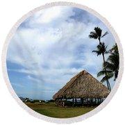 Kukulu Hale Kahului Maui Hawaii Panorama Round Beach Towel