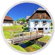 Kumrovec Picturesque Village In Zagorje Region Of Croatia Round Beach Towel