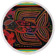 Kuna Indian Flying Fish  Round Beach Towel