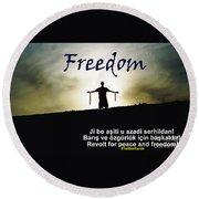 Kurdish Peace And Freedom Poster Round Beach Towel