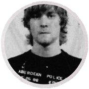 Kurt Cobain Mug Shot Painting Vertical Black And Gray Grey Round Beach Towel