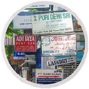 Kuta Street Signs -- Bali Round Beach Towel