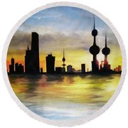 Kuwait City Sunset From The Bay Round Beach Towel