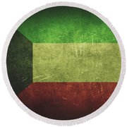 Kuwait Distressed Flag Dehner Round Beach Towel