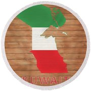 Kuwait Rustic Map On Wood Round Beach Towel