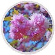 Kwanzan Cherry Blossoms Round Beach Towel