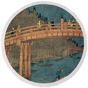 Kyoto Bridge By Moonlight Round Beach Towel