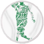 Kyrie Irving Boston Celtics Pixel Art 43 Round Beach Towel