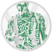 Kyrie Irving Boston Celtics Pixel Art 7 Round Beach Towel