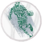Kyrie Irving Boston Celtics Water Color Art 2 Round Beach Towel