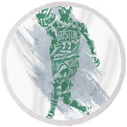 Kyrie Irving Boston Celtics Water Color Art Round Beach Towel