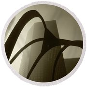 La Abstract Bw Round Beach Towel