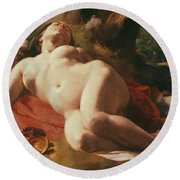 La Bacchante Round Beach Towel by Gustave Courbet