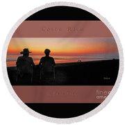 la Casita Playa Hermosa Puntarenas Costa Rica - Sunset Happy Couple Panorama Greeting Card Bold Round Beach Towel