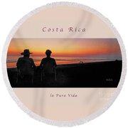 la Casita Playa Hermosa Puntarenas Costa Rica - Sunset Happy Couple Panorama Greeting Card Soft Round Beach Towel