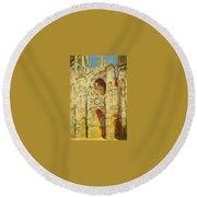 La Cathedrale De Rouen Le Portail Et La Tour Saint-ro Claude Oscar Monet Round Beach Towel