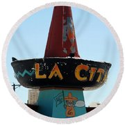 La Cita In Tucumcari On Route 66 Nm Round Beach Towel