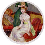 La Coiffure Round Beach Towel by Renoir