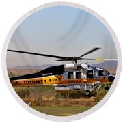 La County Fire Air Support Round Beach Towel